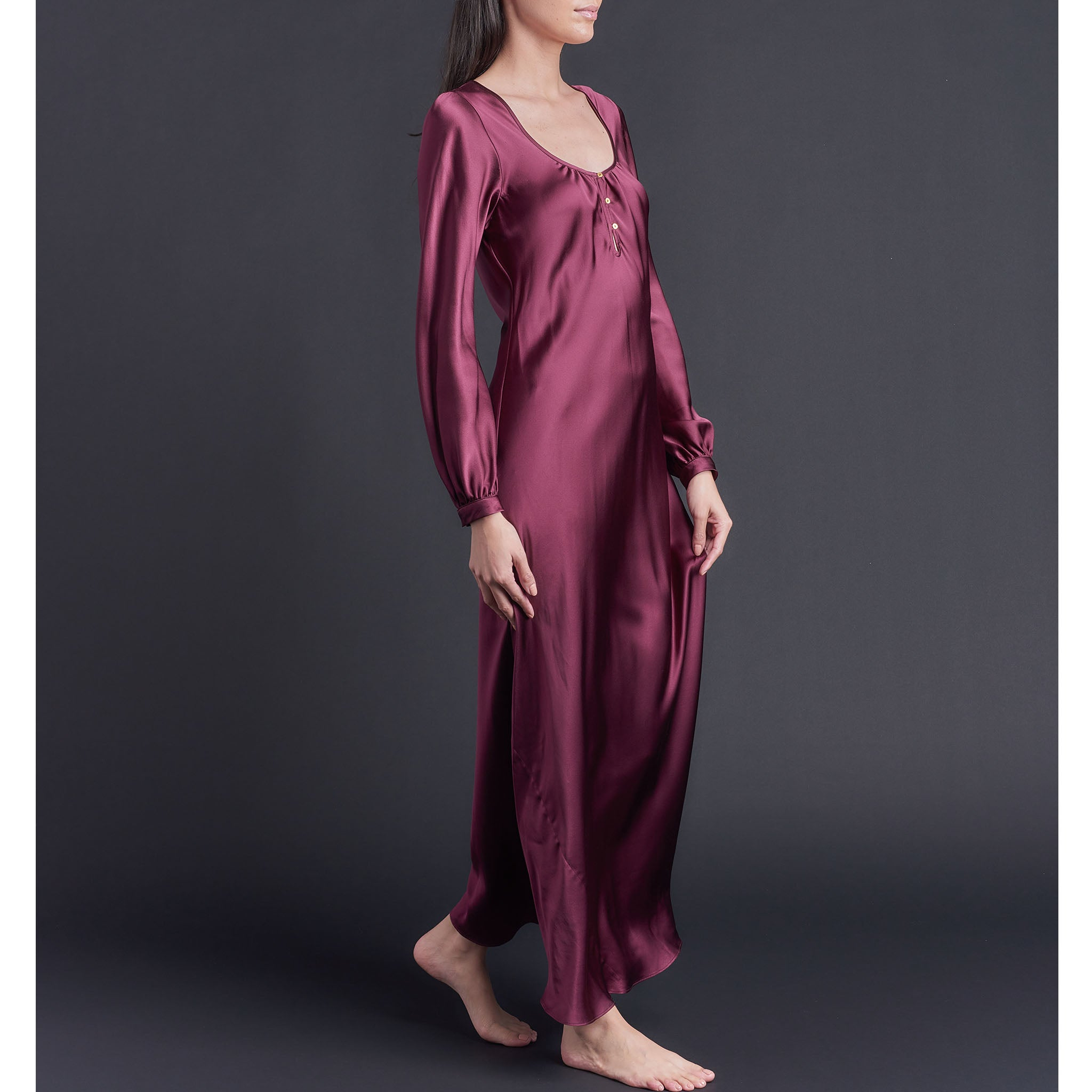 Long Bast Sleep Shirt in Garnet Silk Charmeuse