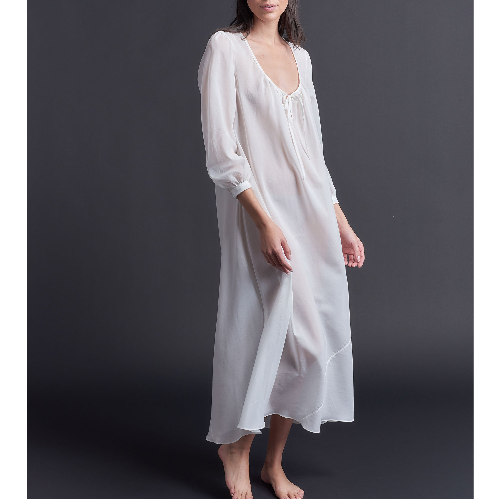 Long Bast Sleep Shirt in Pearl Silk Cotton Voile