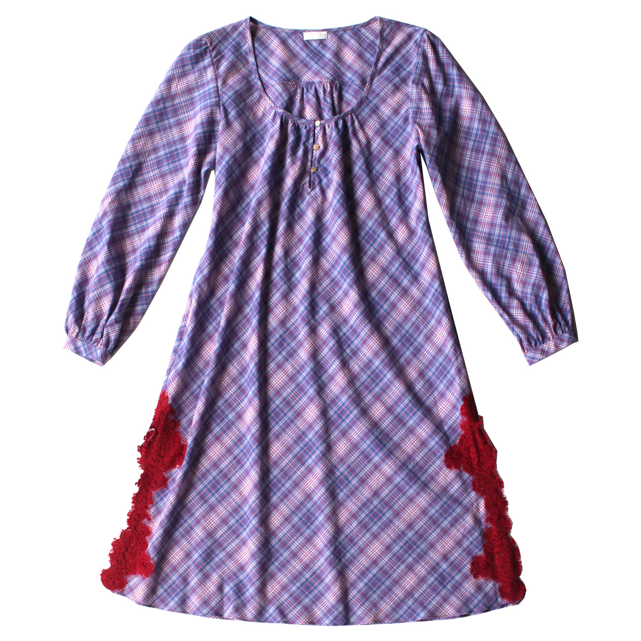 The Bast Sleep Shirt in Purple Plaid Italian Striped Cotton