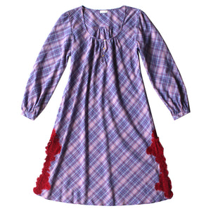 The Knee Length Bast Sleep Shirt in Italian Violet Plaid Cotton