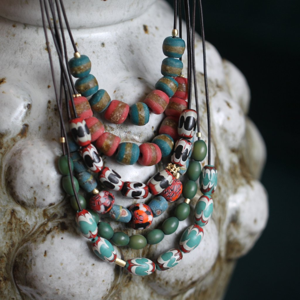 The African Coral + Turquoise Patterned Bead Necklace