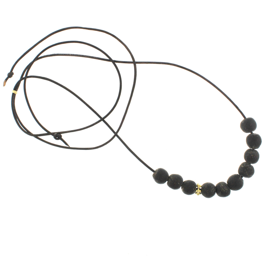 Recycled Glass Bead Necklace - Matte Black