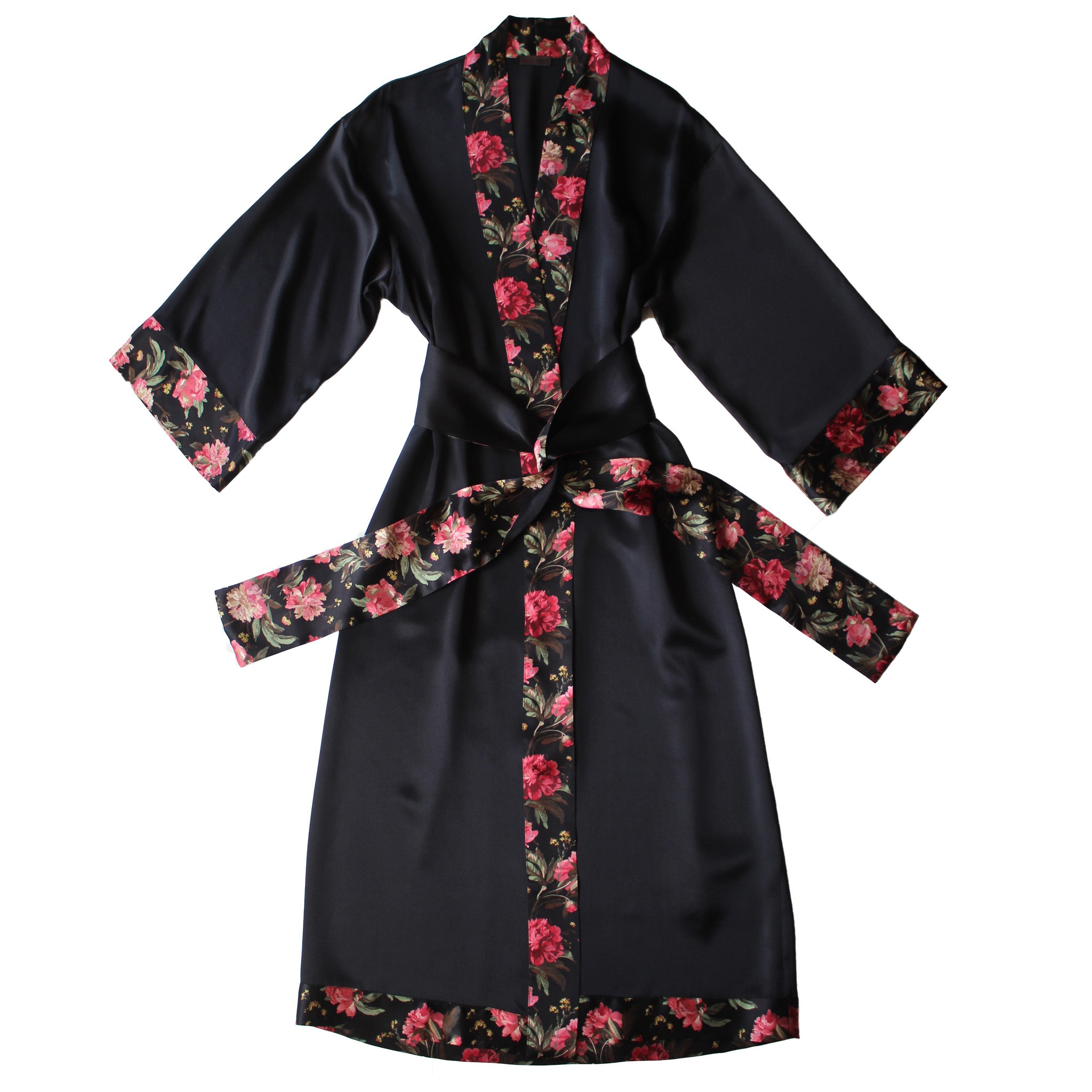 Asteria Kimono Robe in Black Silk Charmeuse with Decadent Blooms Liberty Print Contrast Silk