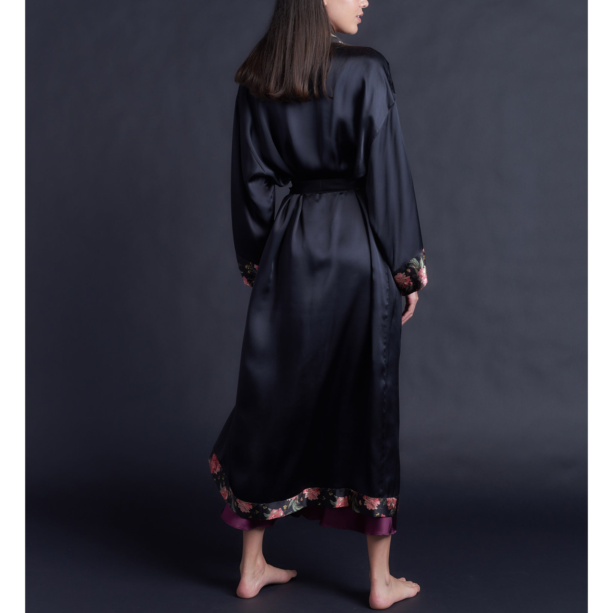 Asteria Kimono Robe in Black Silk Charmeuse with Liberty of London Decadent Blooms Contrast