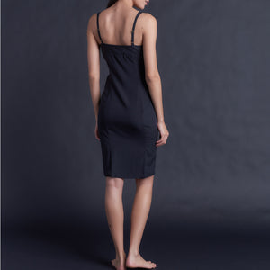 Laetitia Slip in Black Stretch Silk Charmeuse