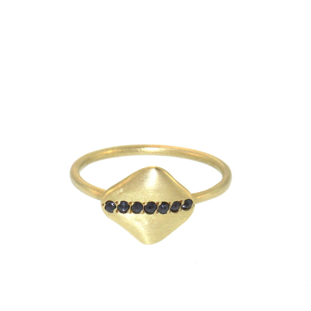 Pavé Stripe Black Diamond Disc Ring