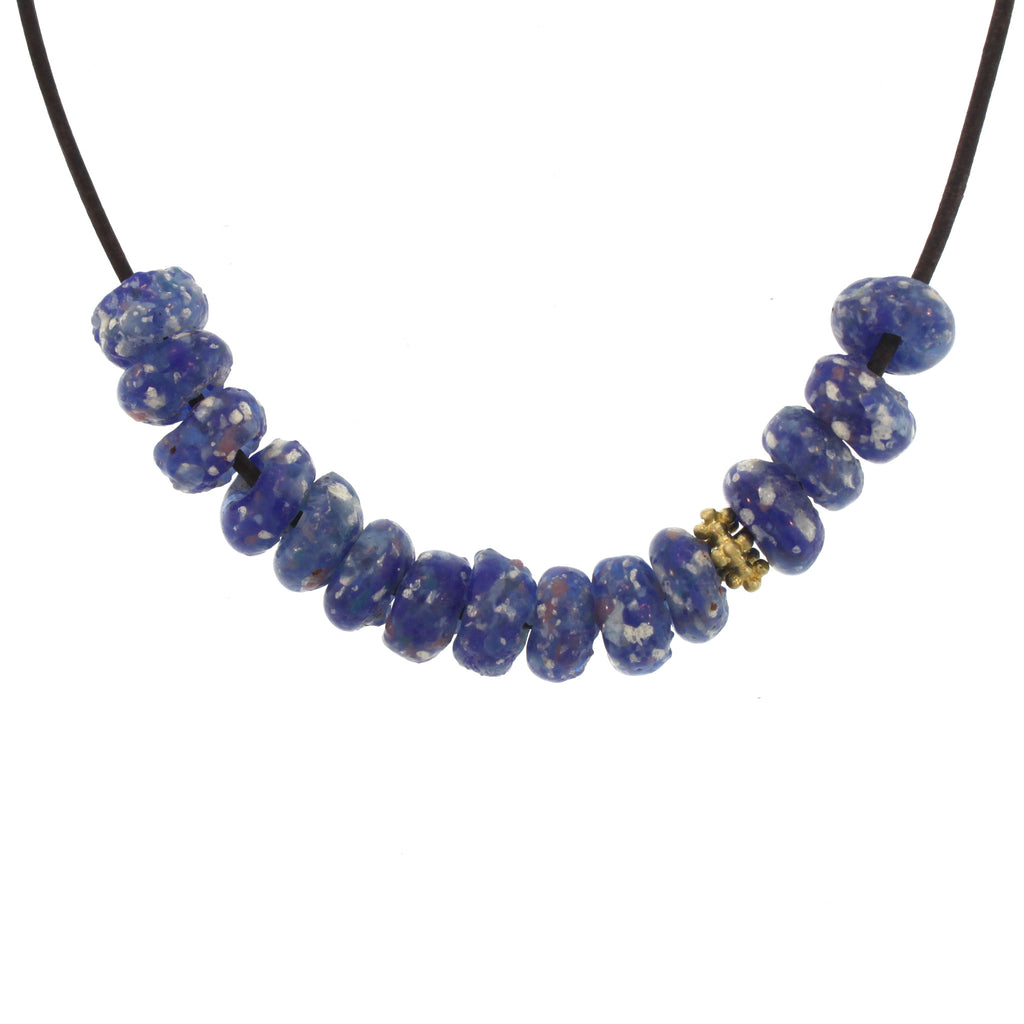 Blue Multicolored Glass Bead Necklace