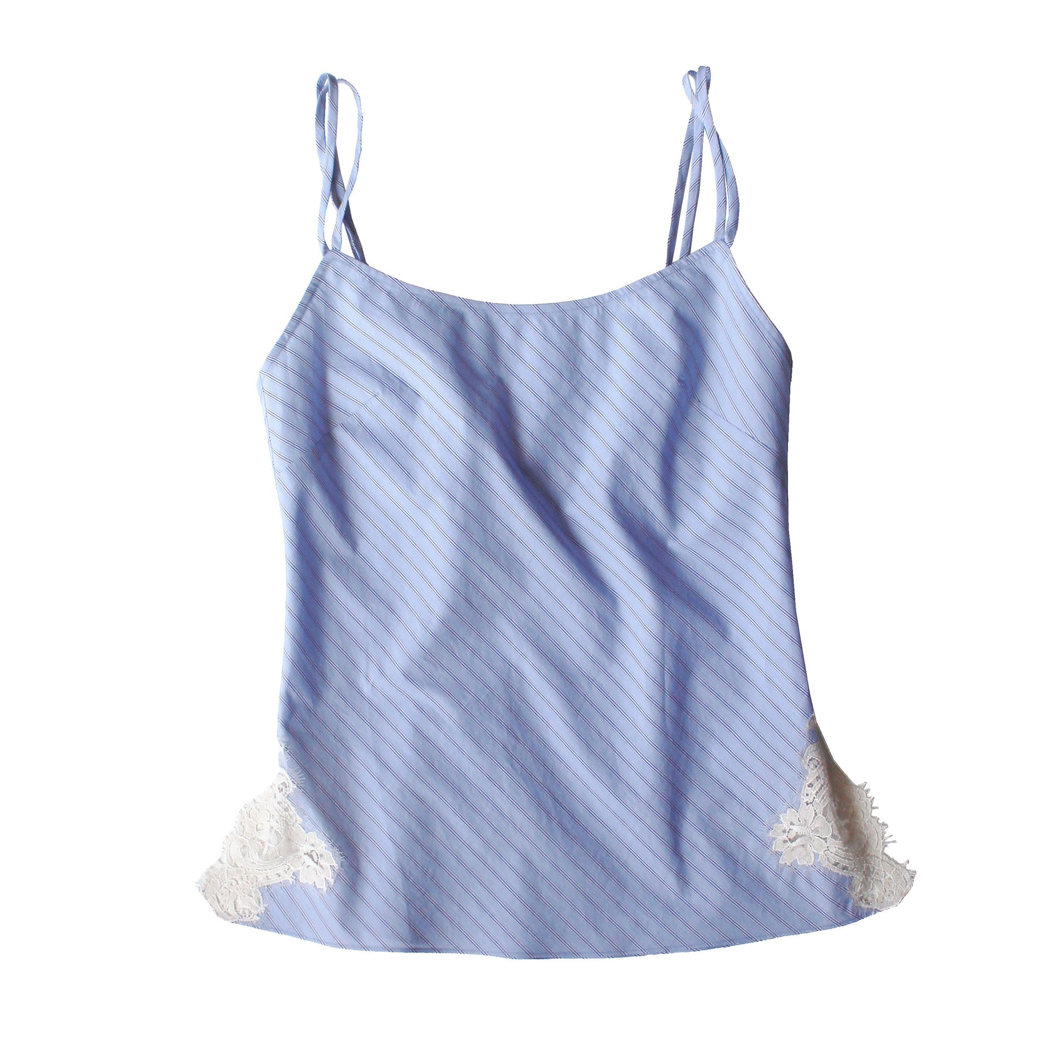 FINAL SALE - Olwen Camisole in Italian Cotton Blue Train Stripe