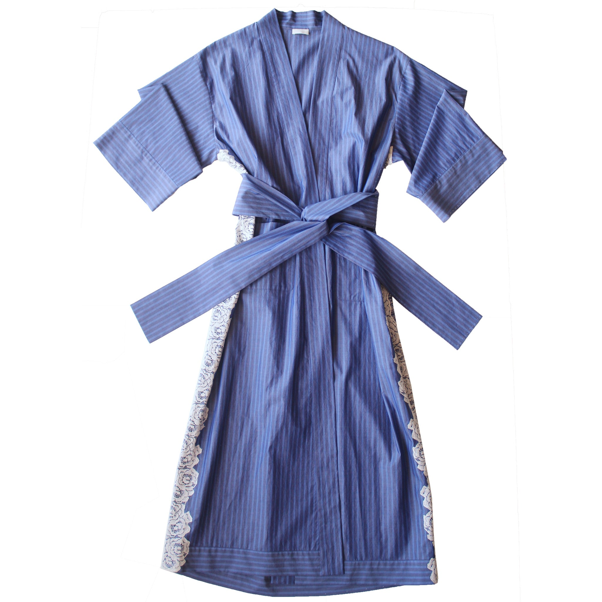 Asteria Kimono Robe in Italian Cotton Grey Blue Stripe