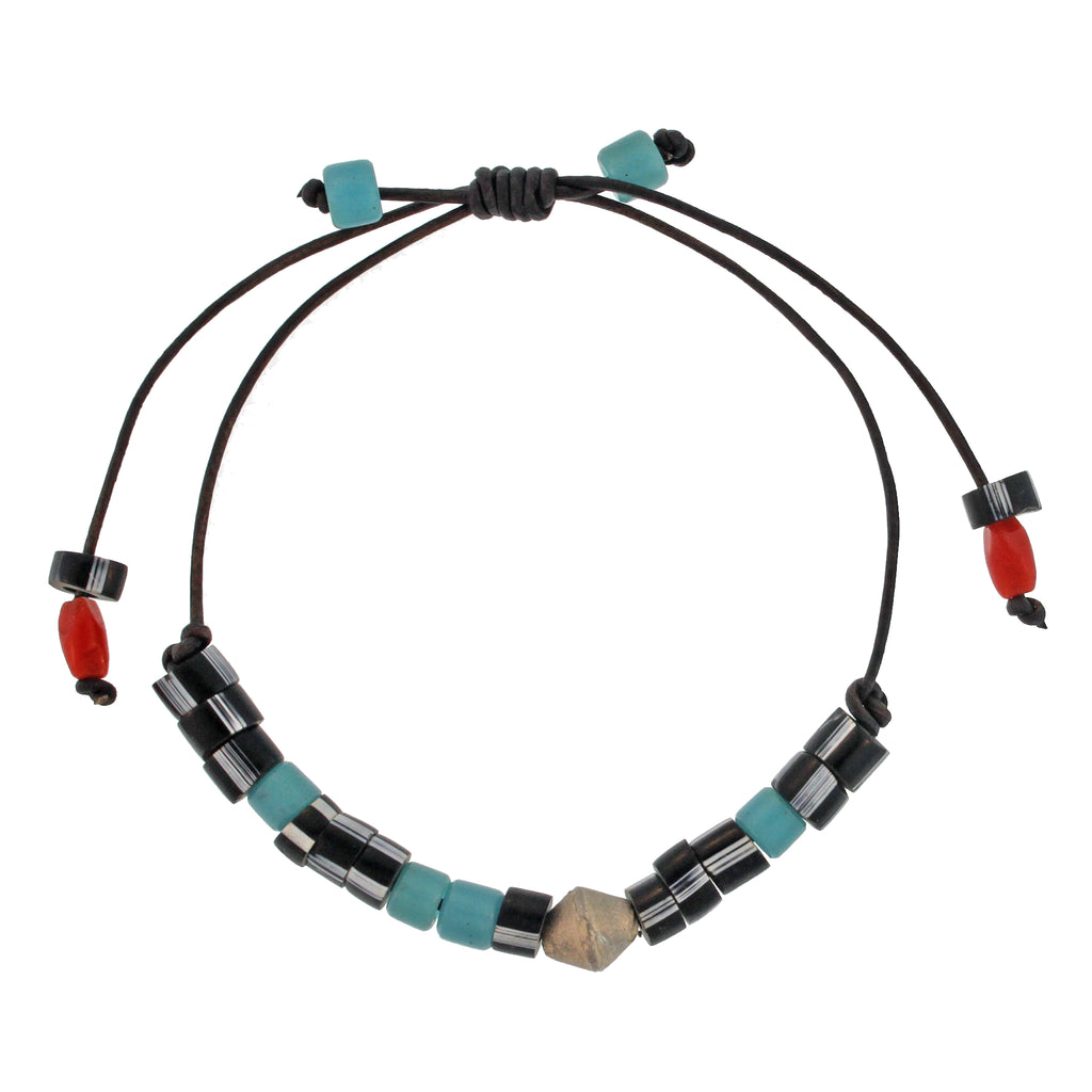 Bracelet with Turquoise + Black Beads and Sterling Silver