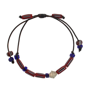 Red + Blue Beaded Bracelet with Silver