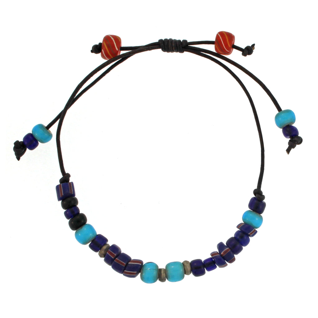 Leather Bracelet with Blue Toned African Beads and Sterling Silver