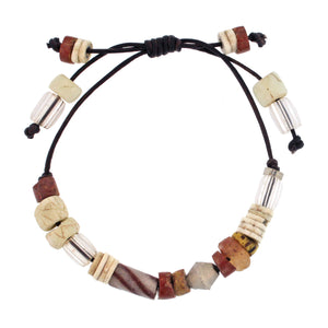 Leather Bracelet with Neutral Toned African Beads and Sterling Silver