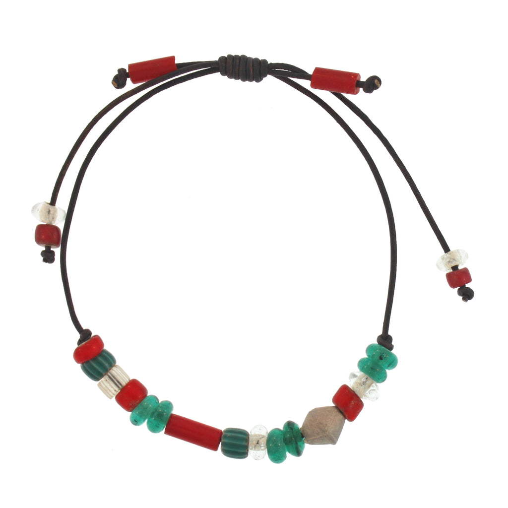 Leather Bracelet with Green & Red African Beads and Sterling Silver