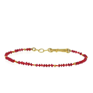 The Ruby and Gold Bead Bracelet