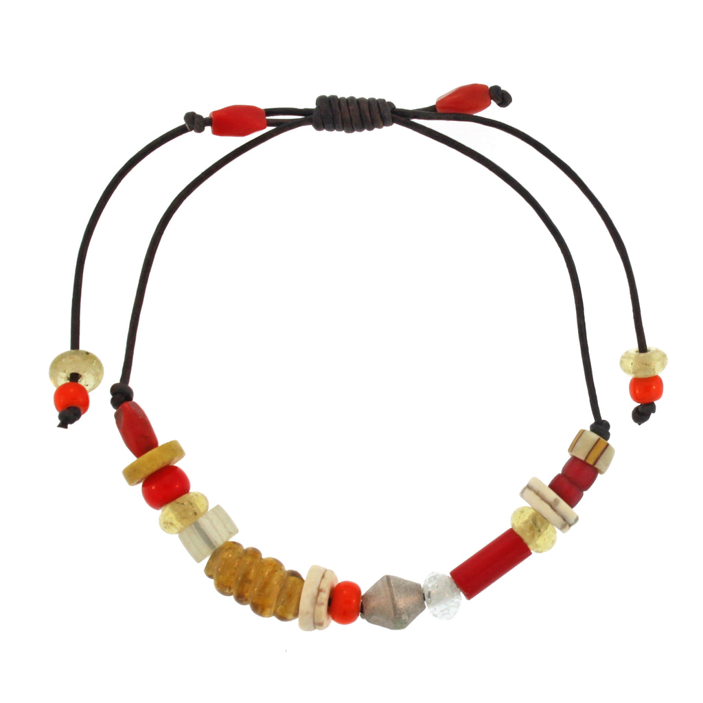 Yellow + Red Beaded Bracelet with Silver