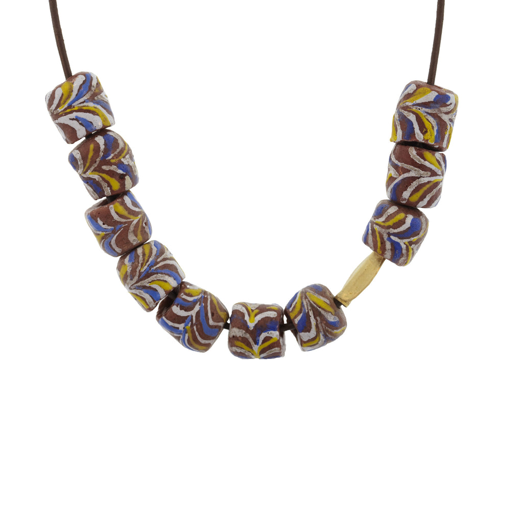 Marbleized Glass Bead Necklace