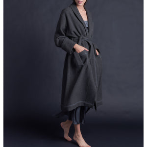 Claudette Robe in Charcoal Grey Cashmere