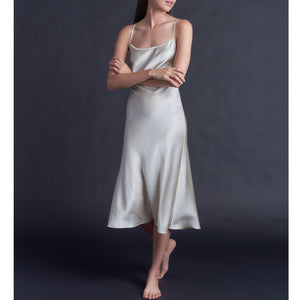Celeste Tea Length Slip in Pearl Stretch Silk Charmeuse