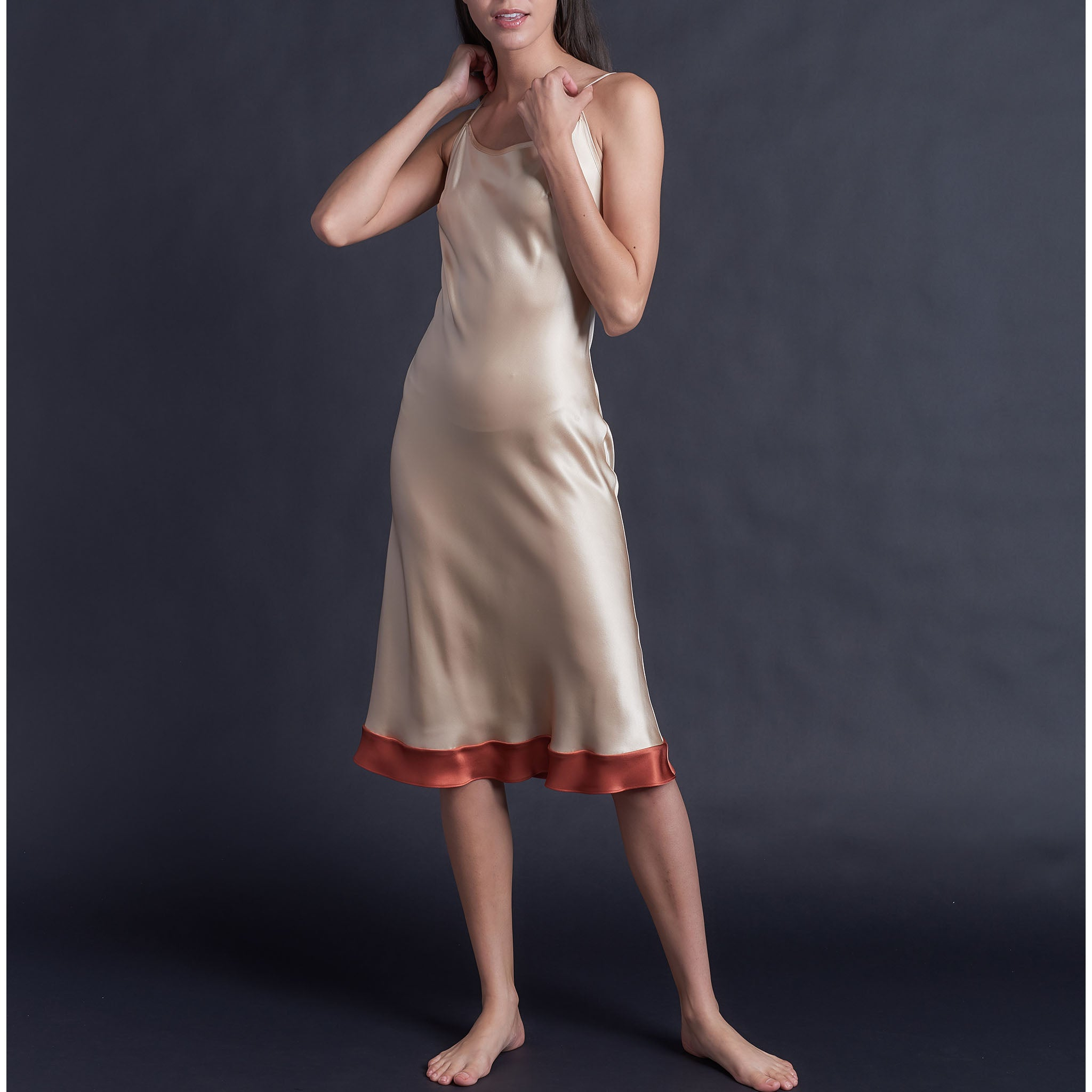 Celeste Tea Length Slip in Color Block Cinnabar Silk Charmeuse