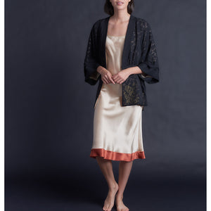 Charis Black Silk Crinkle Chiffon and Veiled Lace Bed Jacket