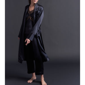 Claudette Robe in Black Silk Charmeuse