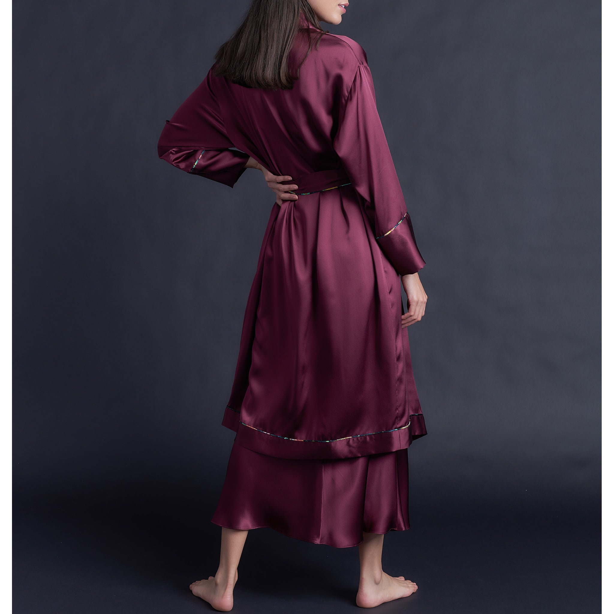 Claudette Robe in Garnet Silk Charmeuse