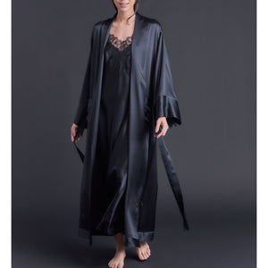 Long Claudette Robe in Black Silk Charmeuse