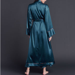 Long Claudette Robe in Peacock Silk Charmeuse