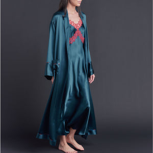 Marlayne Silk Charmeuse Slip in Peacock with Red Lace