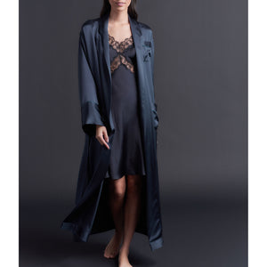 Long Claudette Robe in Sapphire Silk Charmeuse