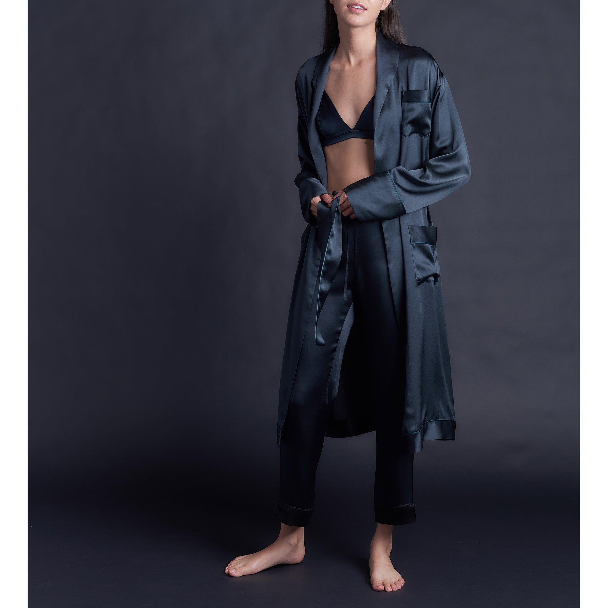 Serena Pajama Pant in Sapphire Silk Charmeuse