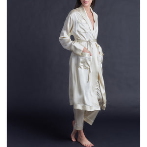 Claudette Robe in Pearl Silk Charmeuse