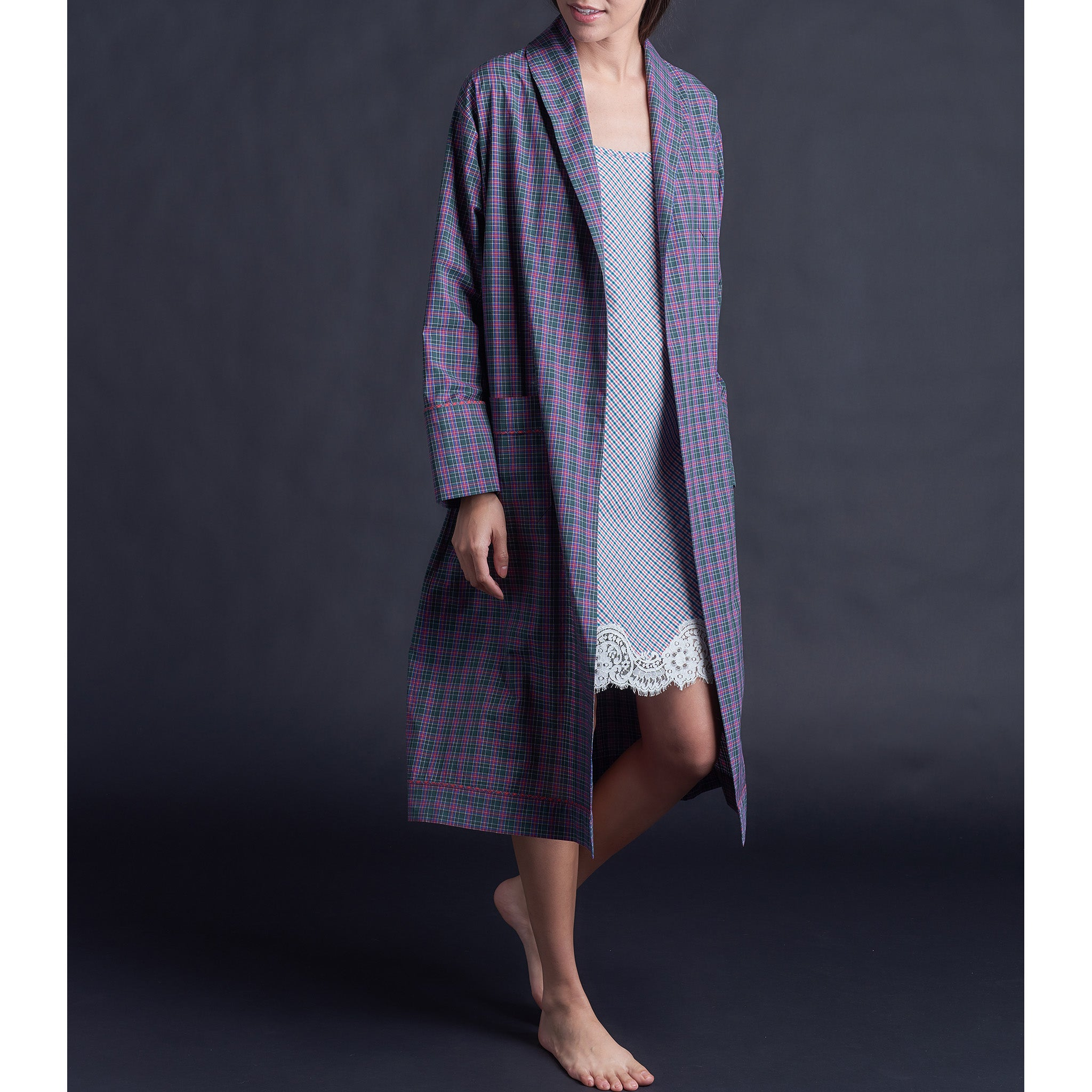 Claudette Robe in Italian Cotton Purple Plaid