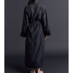 Long Claudette Robe in Black Silk Cotton Voile