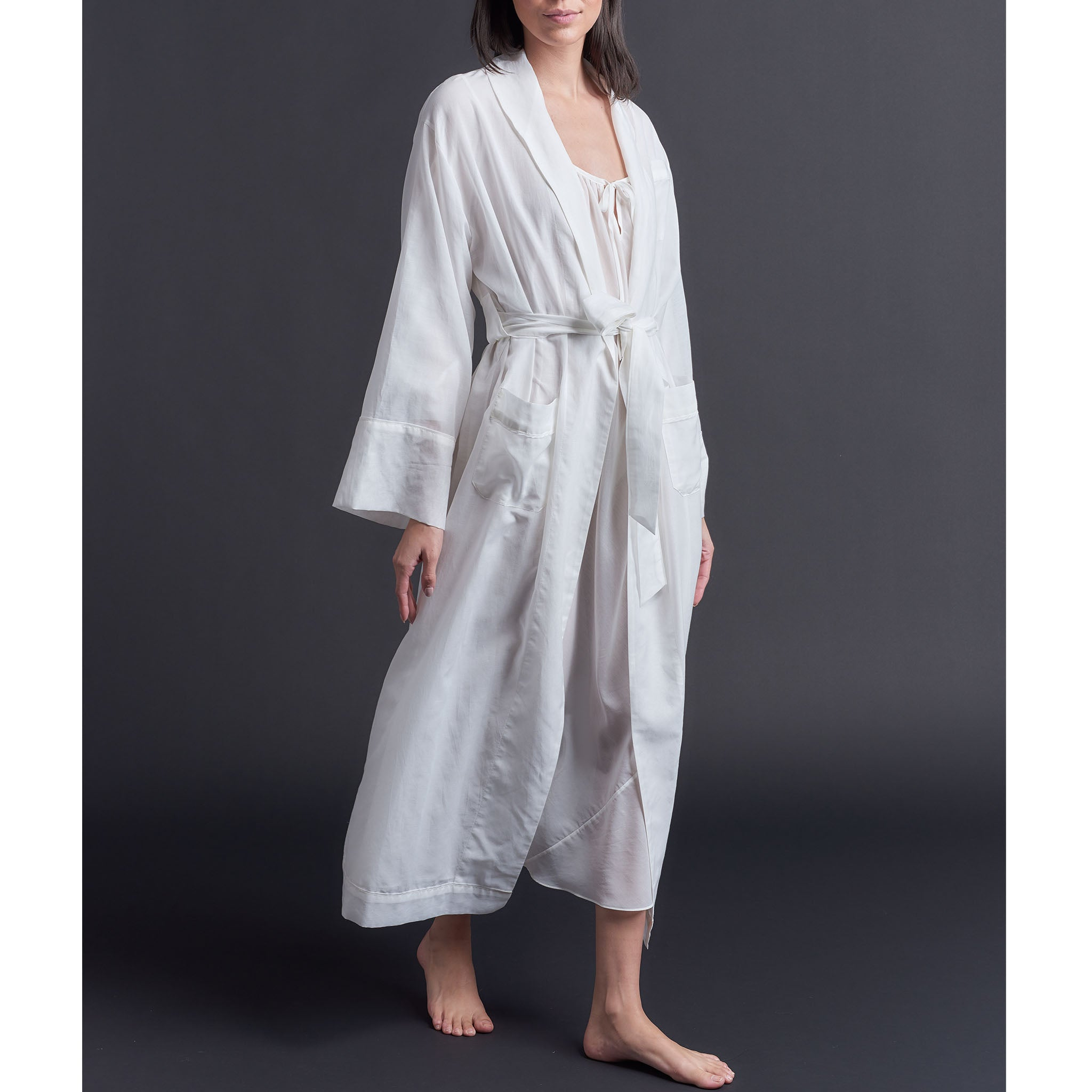 Long Claudette Robe in Pearl Silk Cotton Voile