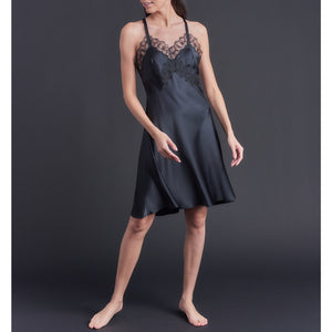 Clio Slip in Black Silk Charmeuse