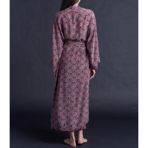 Asteria Kimono Robe in Liberty of London Day Dream Dusty Rose Silk Crepe De Chine