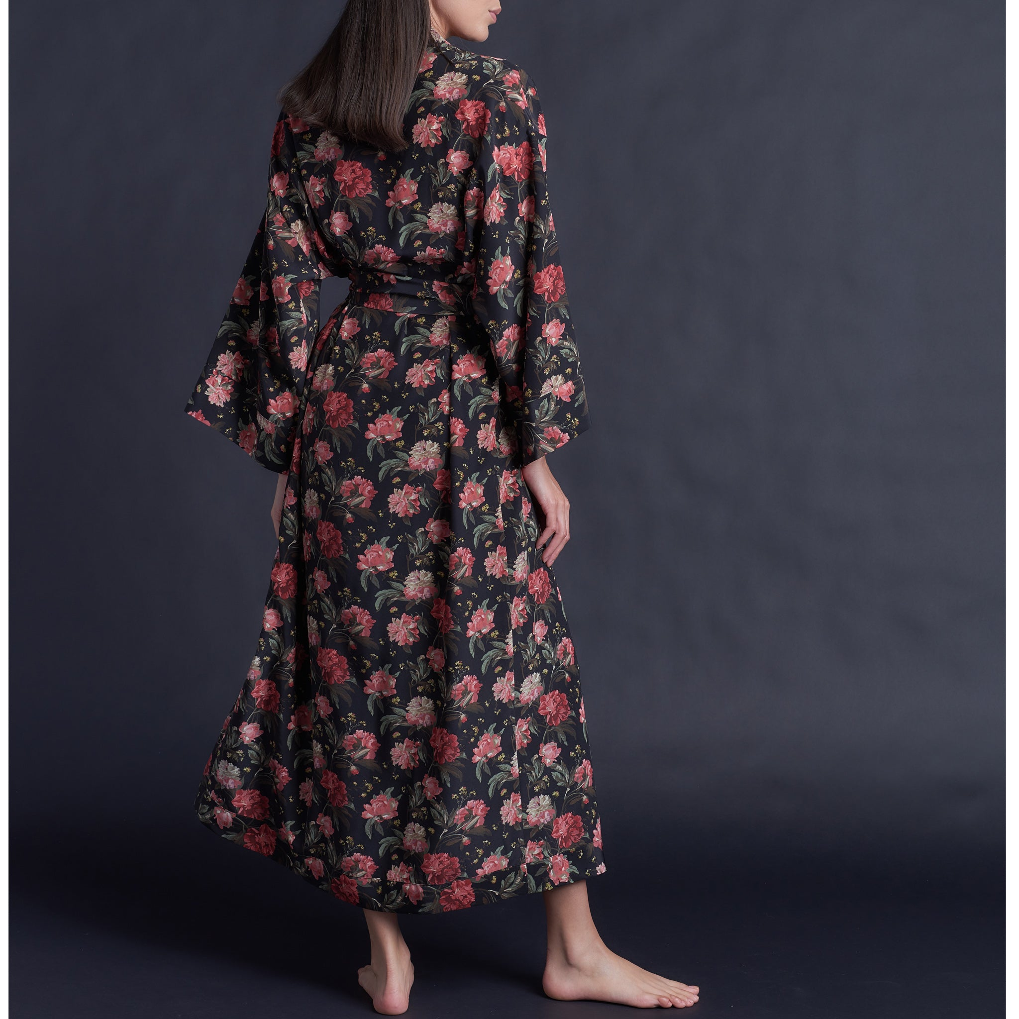 Asteria Kimono Robe in Liberty of London Decadent Blooms Silk Crepe De Chine