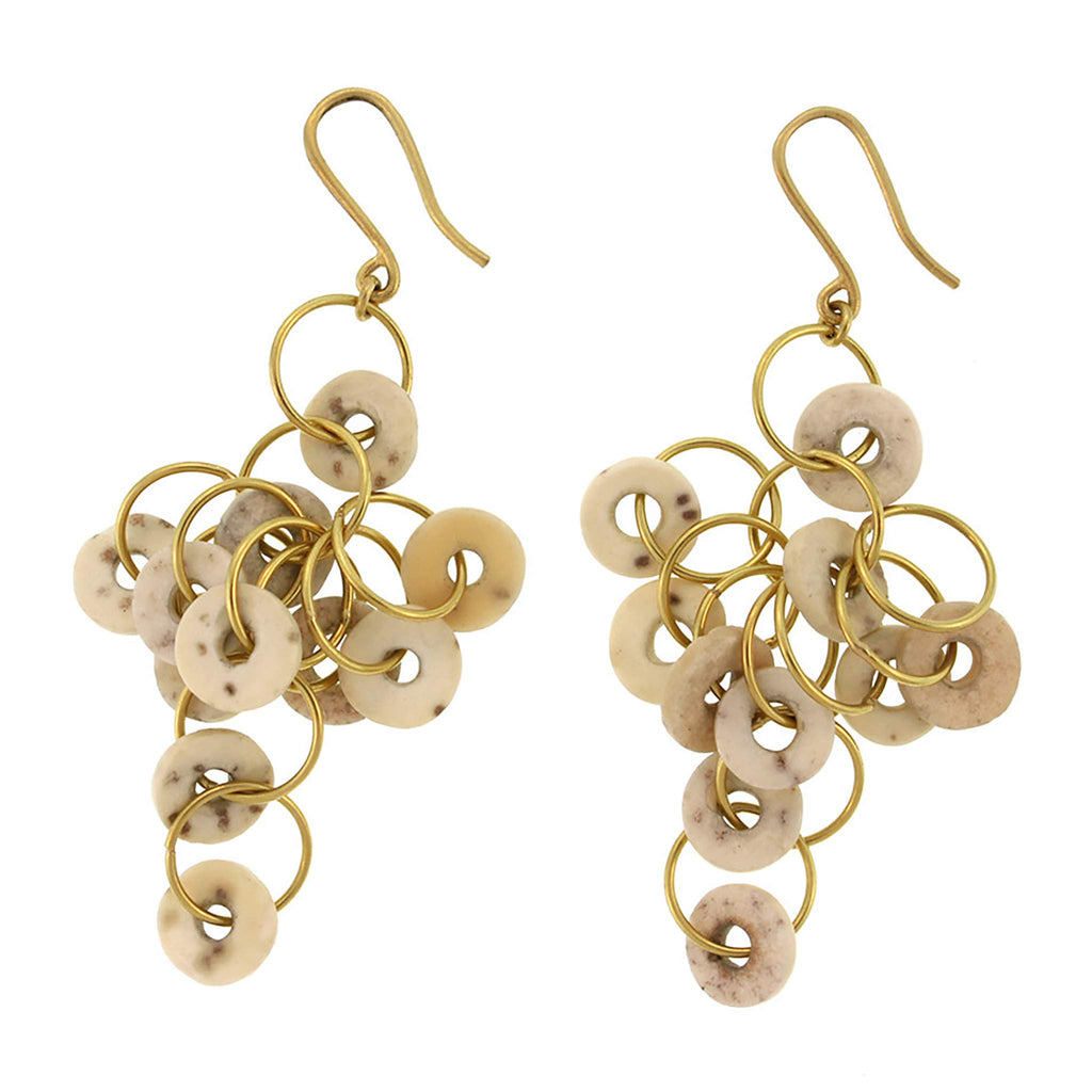 Ostrich Eggshell Loop Cluster Earring