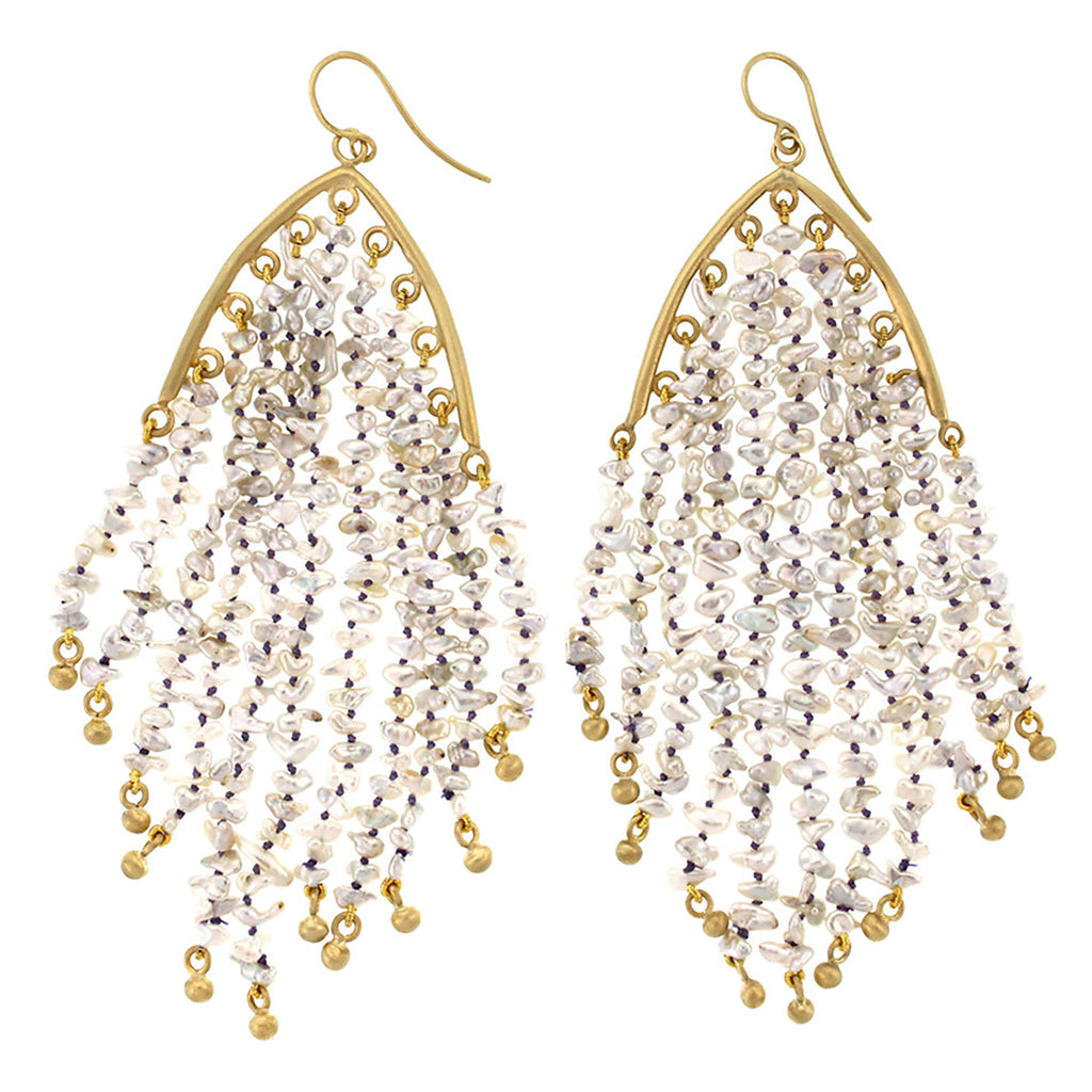 The Keshi Pearl Feather Earring