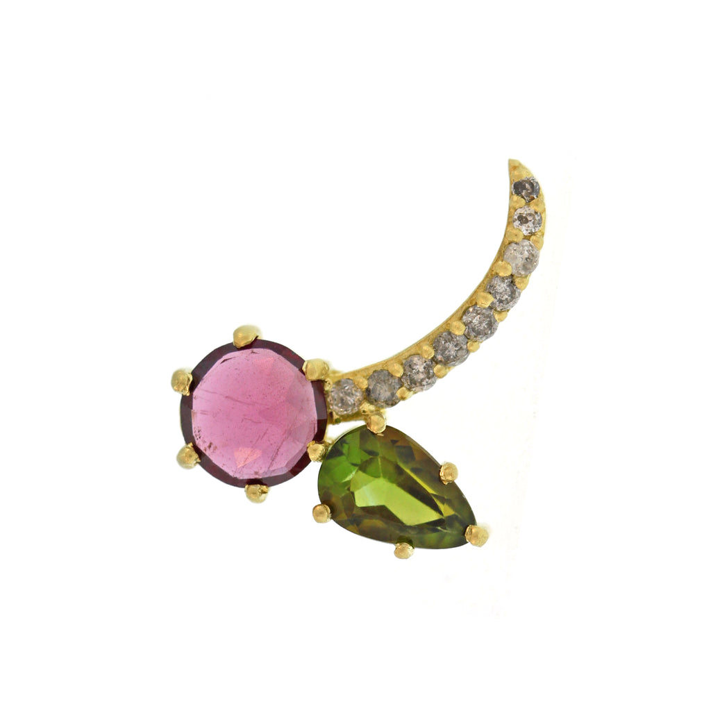 The Tourmaline + Diamond Cherry Bomb Single Stud