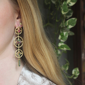 The Mixed Tourmaline Compass Earring