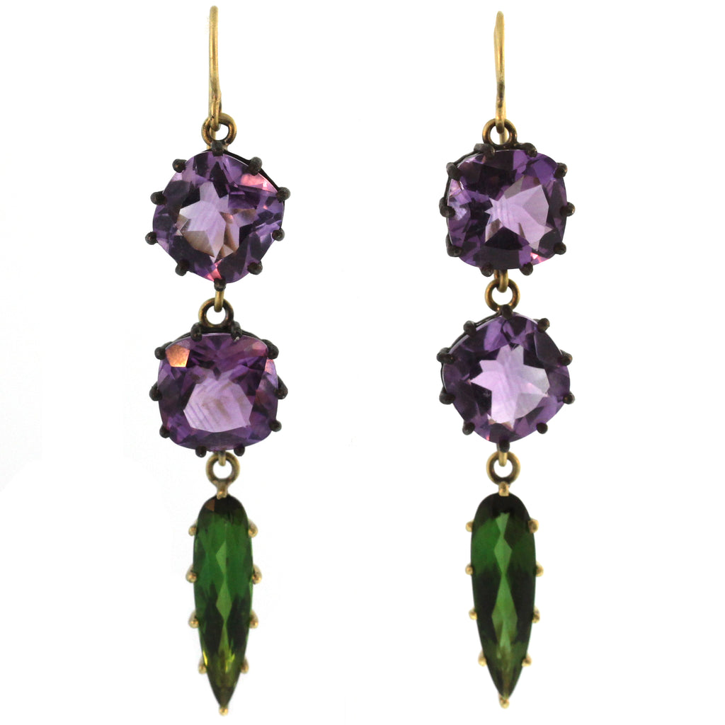 The Amethyst + Tourmaline Drop Earring
