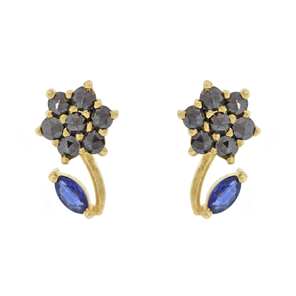 The Sapphire + Black Diamond Flower Bud Stud