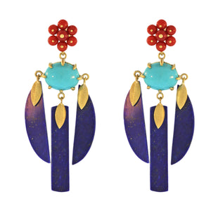 The Lapis, Coral, and Turquoise Lotus Drop Earring