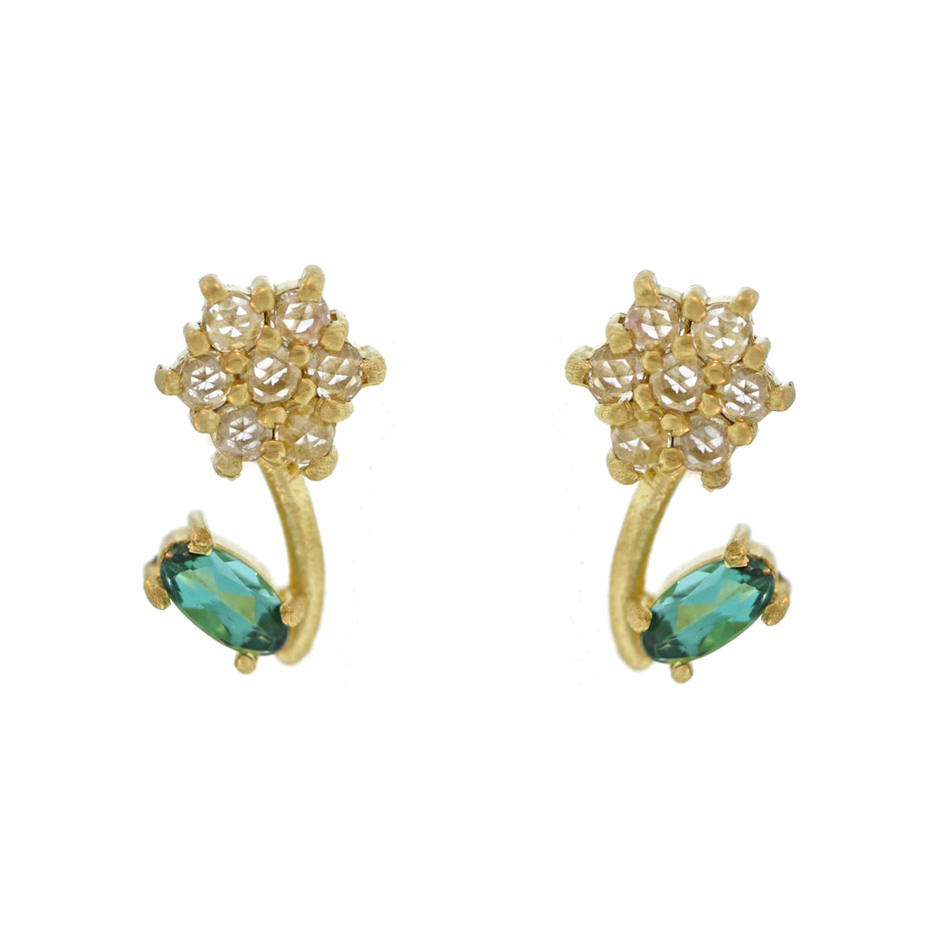 The Diamond + Tourmaline Flower Bud Stud