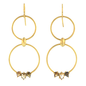 The Triple Cognac Diamond Double Hoop Earring