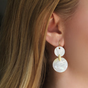 The Double Mother of Pearl Lotus Leaf Earring