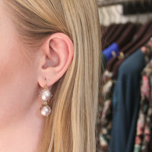 The Double Mother of Pearl Drop Earring